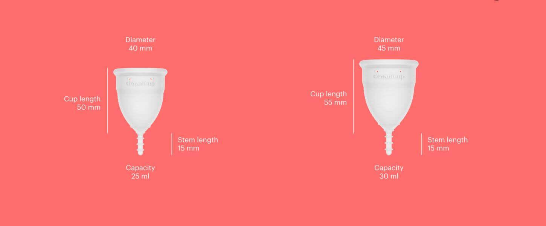 Menstruālā piltuve A un B izmēri